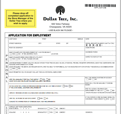 Dollar Tree Printable Job Application  Jobs And Careers