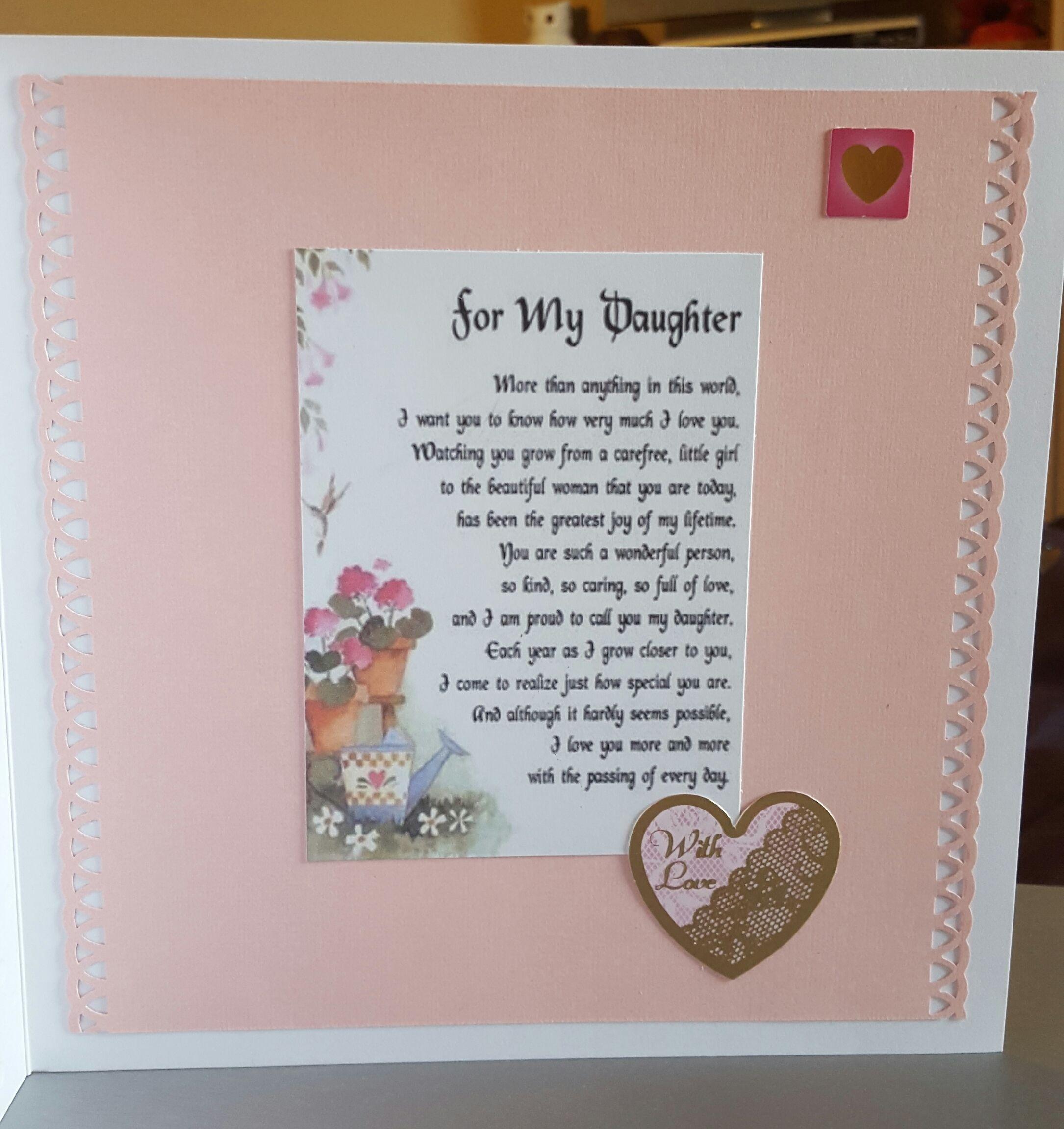 Daughter Birthday Card Elegant Inside with verse Personalised