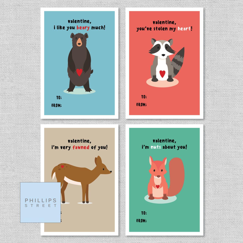 Printable Woodland Creatures Valentine S Day Cards Kids Etsy Valentines For Kids Valentine Day Cards Valentines Sayings For Kids