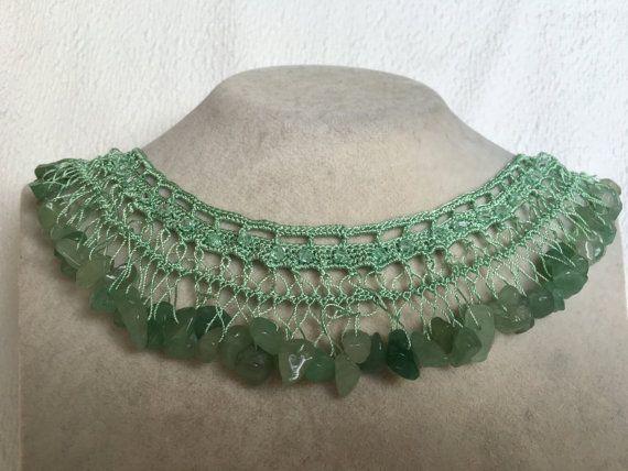 Crystal beaded Green Handmade Necklace Crochet jewelry handcrafted Jewellery with FLUORITE Semi Precious/Natural Stone-gemstone