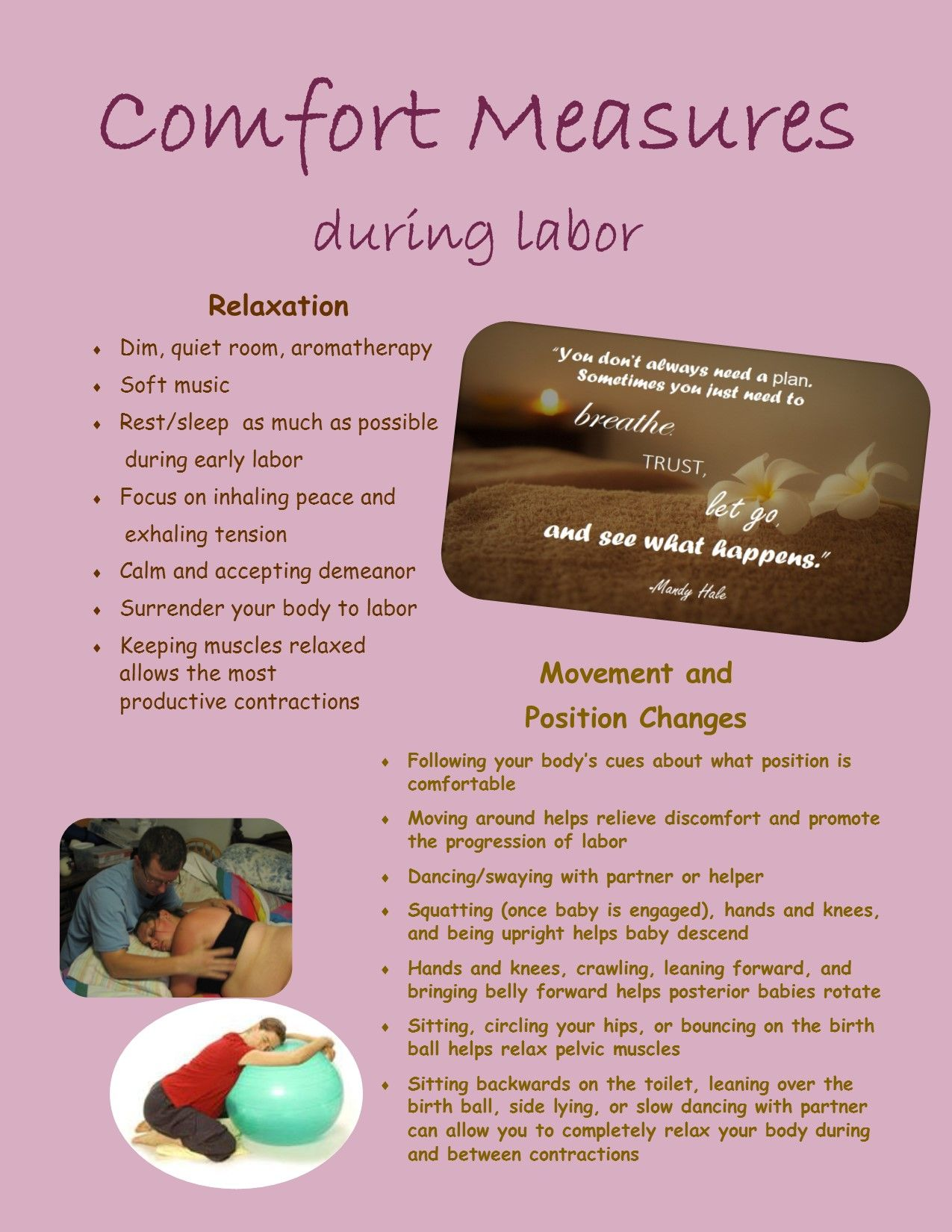Comfort Measures during labor page 1 Midwife assistant