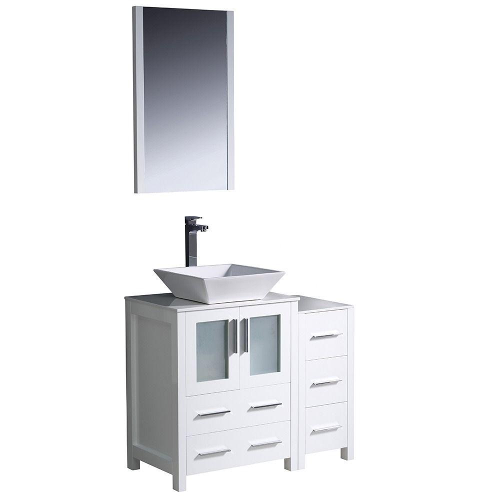 Fresca Torino 36 Inch White Modern Bathroom Vanity With Side