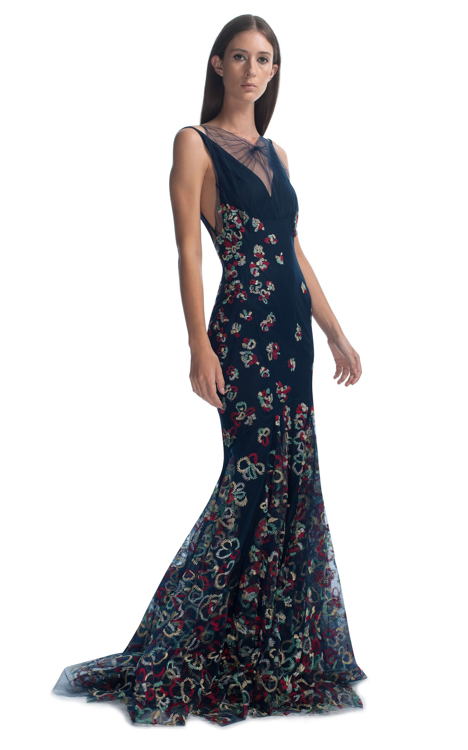 Embroidered Evening Gown by Zac Posen for Preorder on Moda Operandi ...