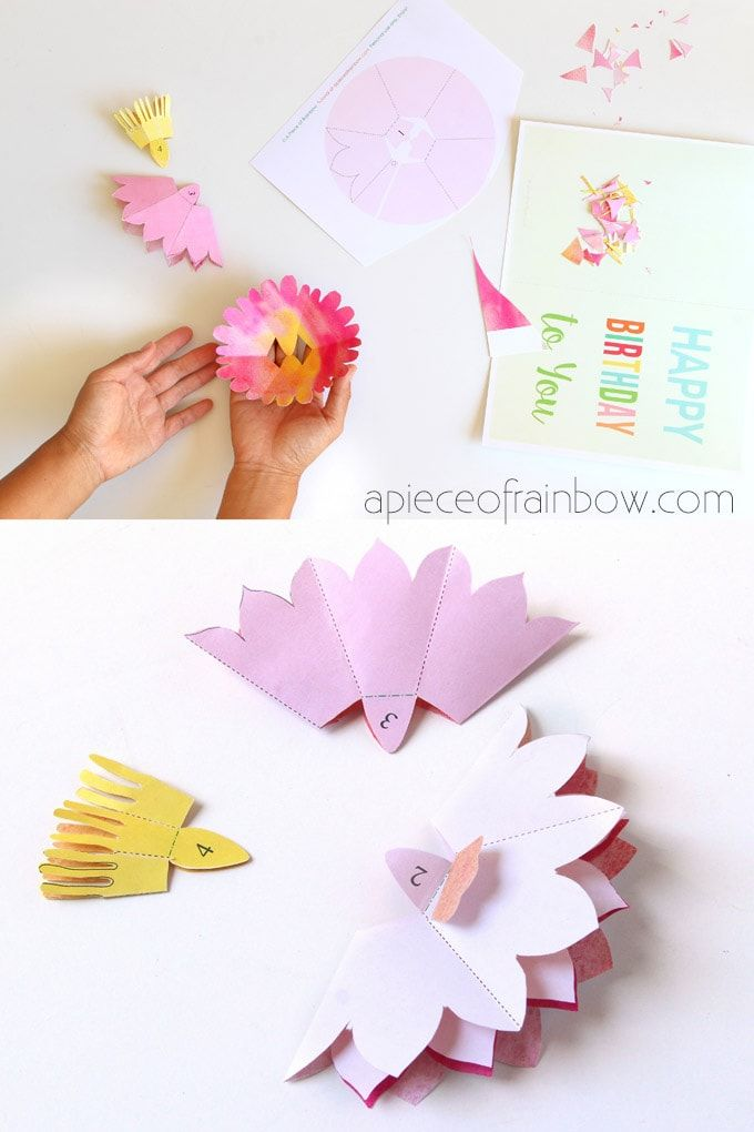 Make A Birthday Card With Pop Up Watercolor Flower Free Designs Pop Up Flower Cards Pop Up Card Templates Birthday Card Pop Up