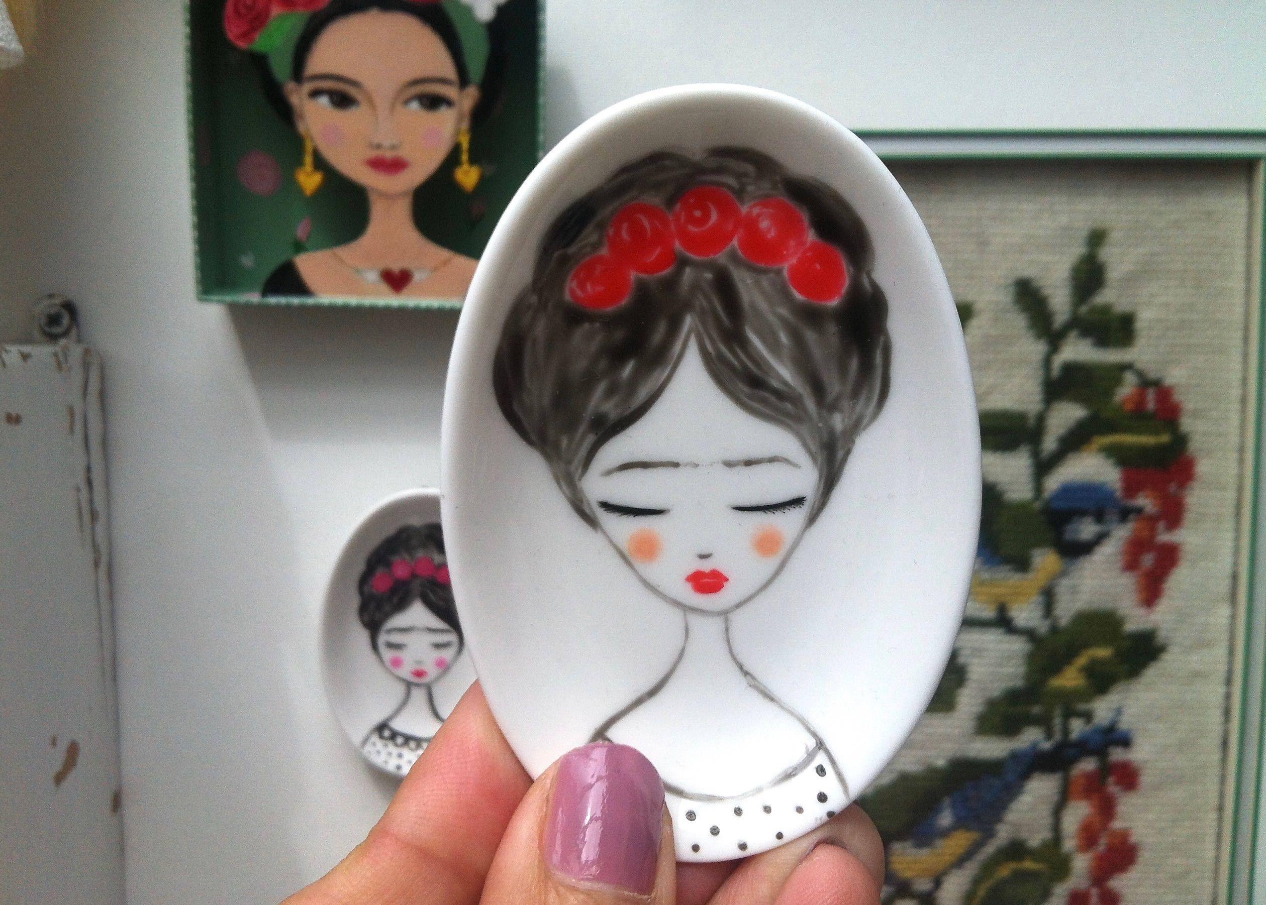 Sieraden schaaltje mini schaaltje handgeschilderd frida kahlo