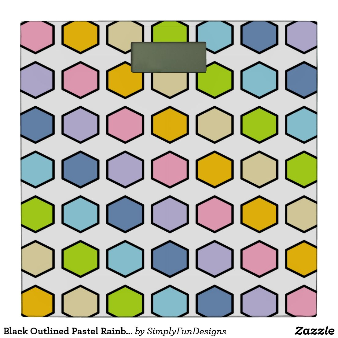 Black Outlined Pastel Rainbow Hexagons Bathroom Scale #bathroomscale #weightloss #scale #bathroom #homedecor