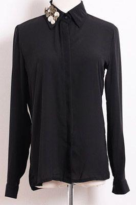 #Aprilwe  Retro Button Beaded Chiffon Shirt