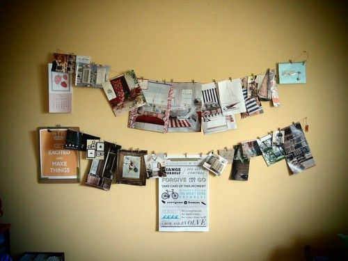 Cards, pics, ideas, etc. hung on wire and posted on any empty wall ...