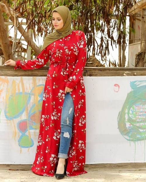 25d1f7f1d74 Hijab style open dress with jeans-Modest Summer Fashion Trends You Need to  Follow – Just Trendy Girls