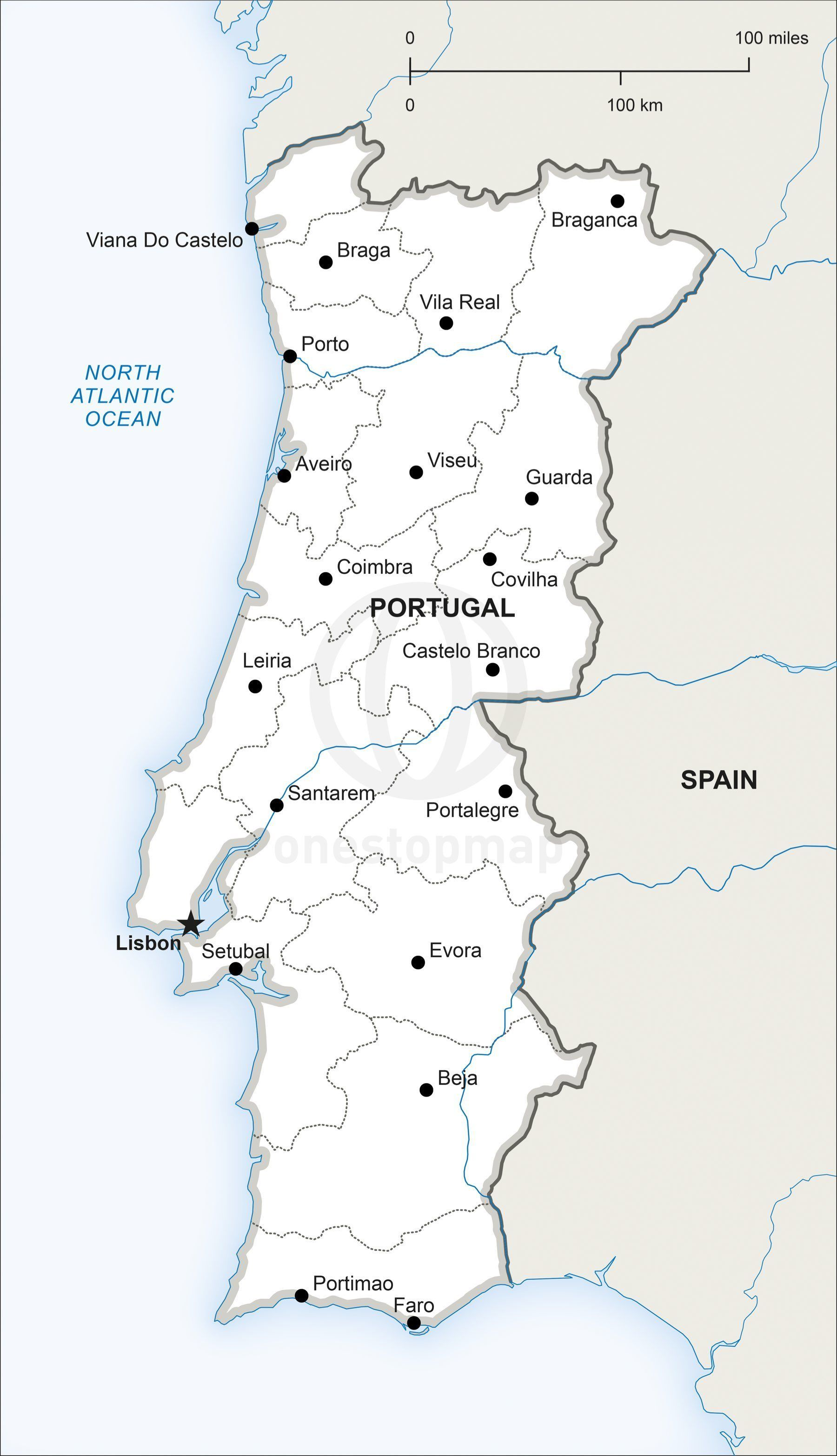 Vector Map of Portugal Political  Adobe illustrator Portugal and