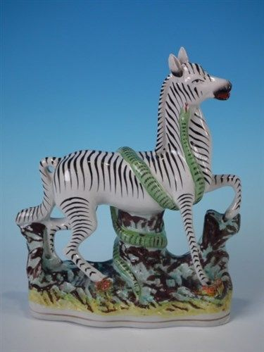 Staffordshire Zebra & serpent figure (large size)