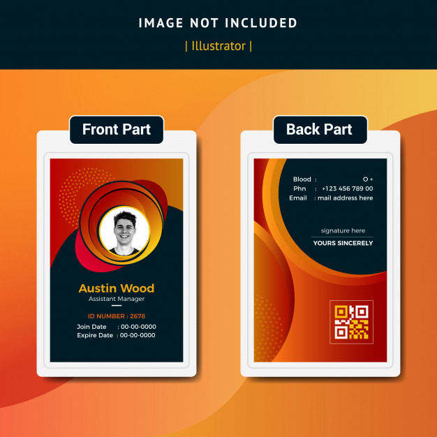 Company Officer Id Card Template Id Card Template Graphic Design Business Card Business Cards Layout