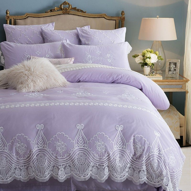 Elegant Girls Lilac Purple And White Flower Pattern Victorian Lace Style Full Queen Size Bedding Sets Bedding Sets Purple Bedding Sets White Bed Set