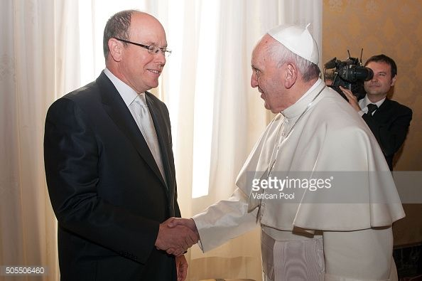Pope Francis meets Prince Albert II of Monaco at the Apostolic Palace on January 18, 2016 in Vatican City, Vatican.
