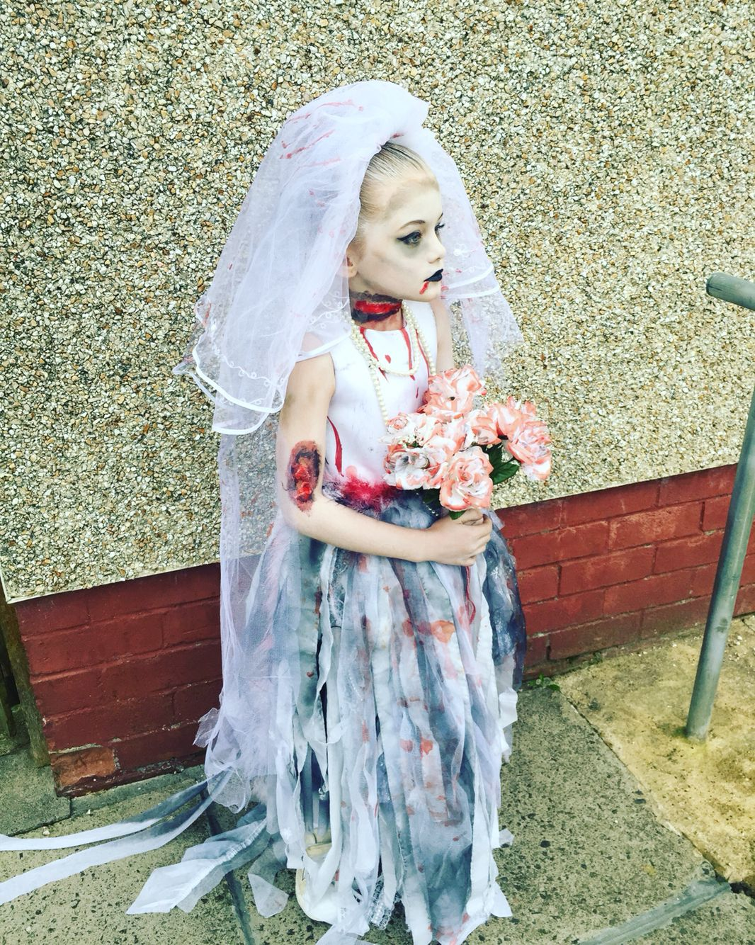 Kids Corpse Ghost Bride Girls Halloween Party Fancy Dress Childs Costume Outfit