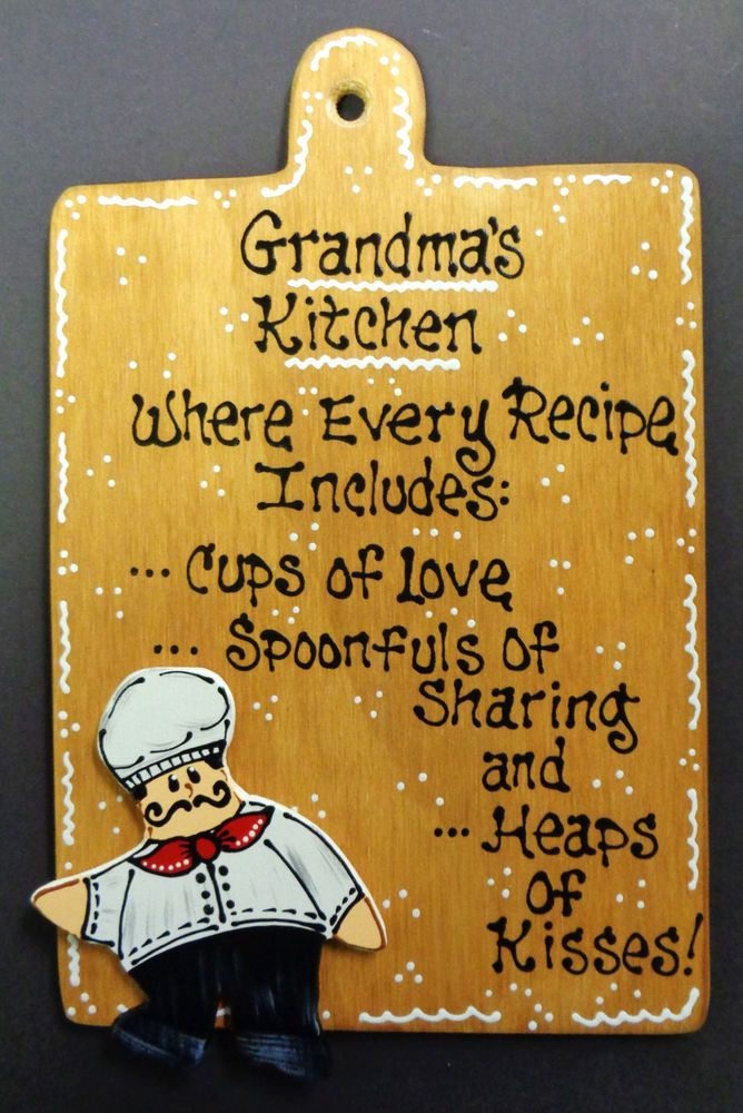 Stained Sign FAT CHEF Overlay GRANDMA\'S KITCHEN Plaque Wall Bistro ...