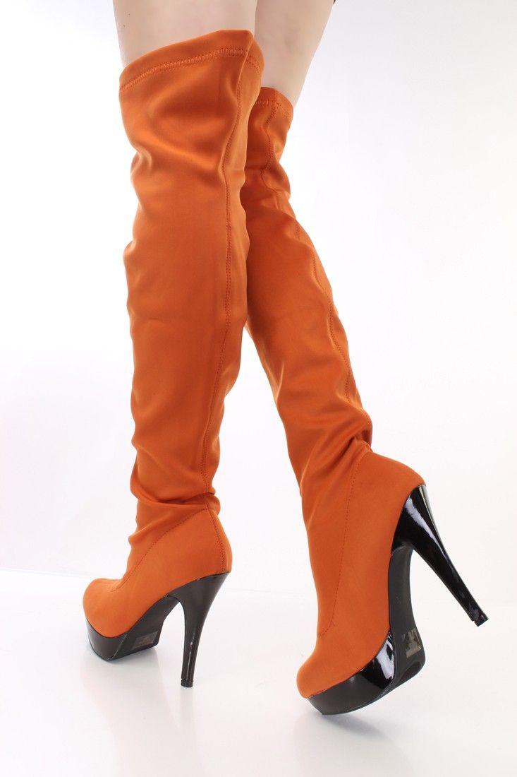 Burnt Orange Closed Toe Thigh High