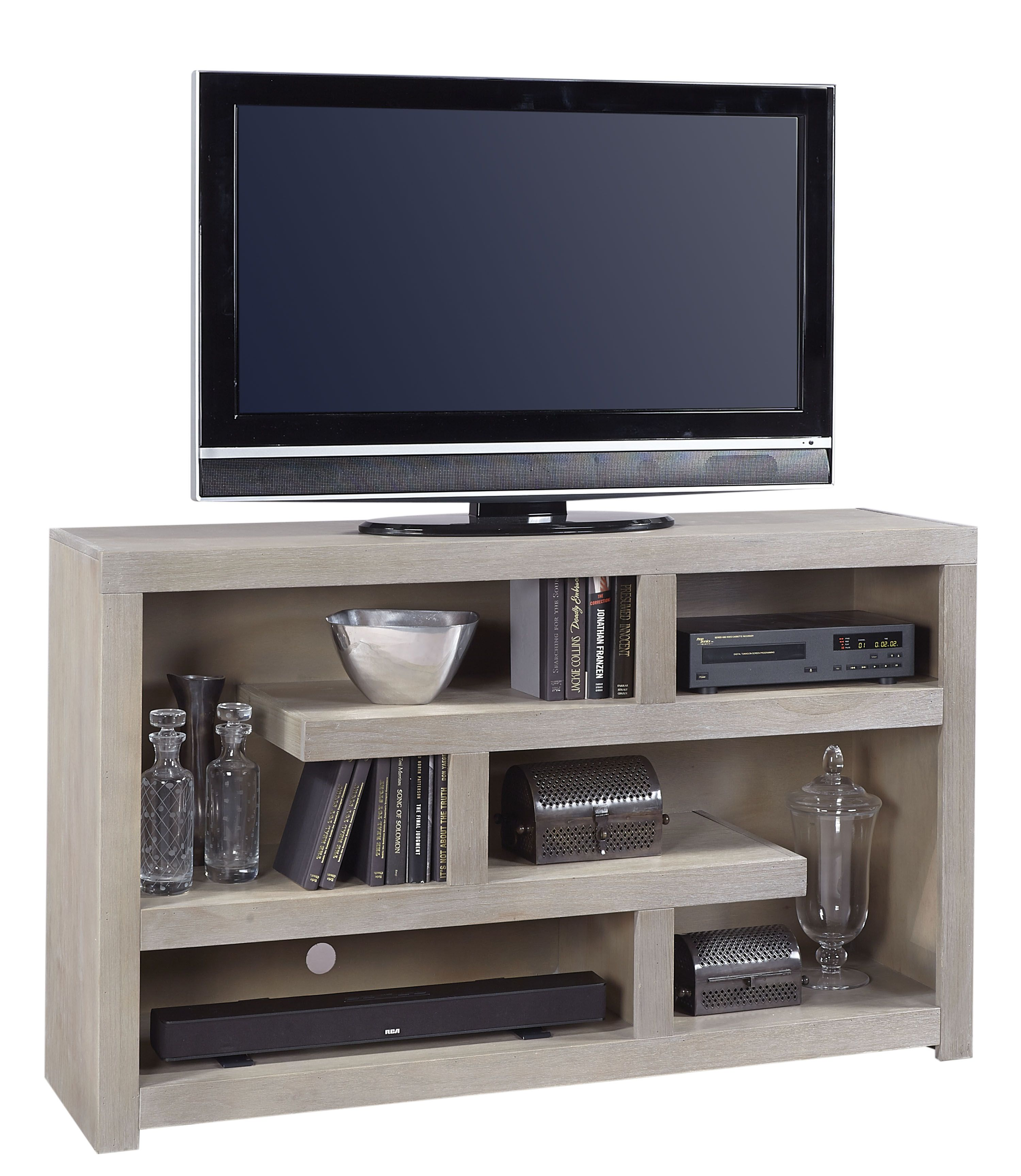 Contemporary driftwood inch open console with geometric shelving