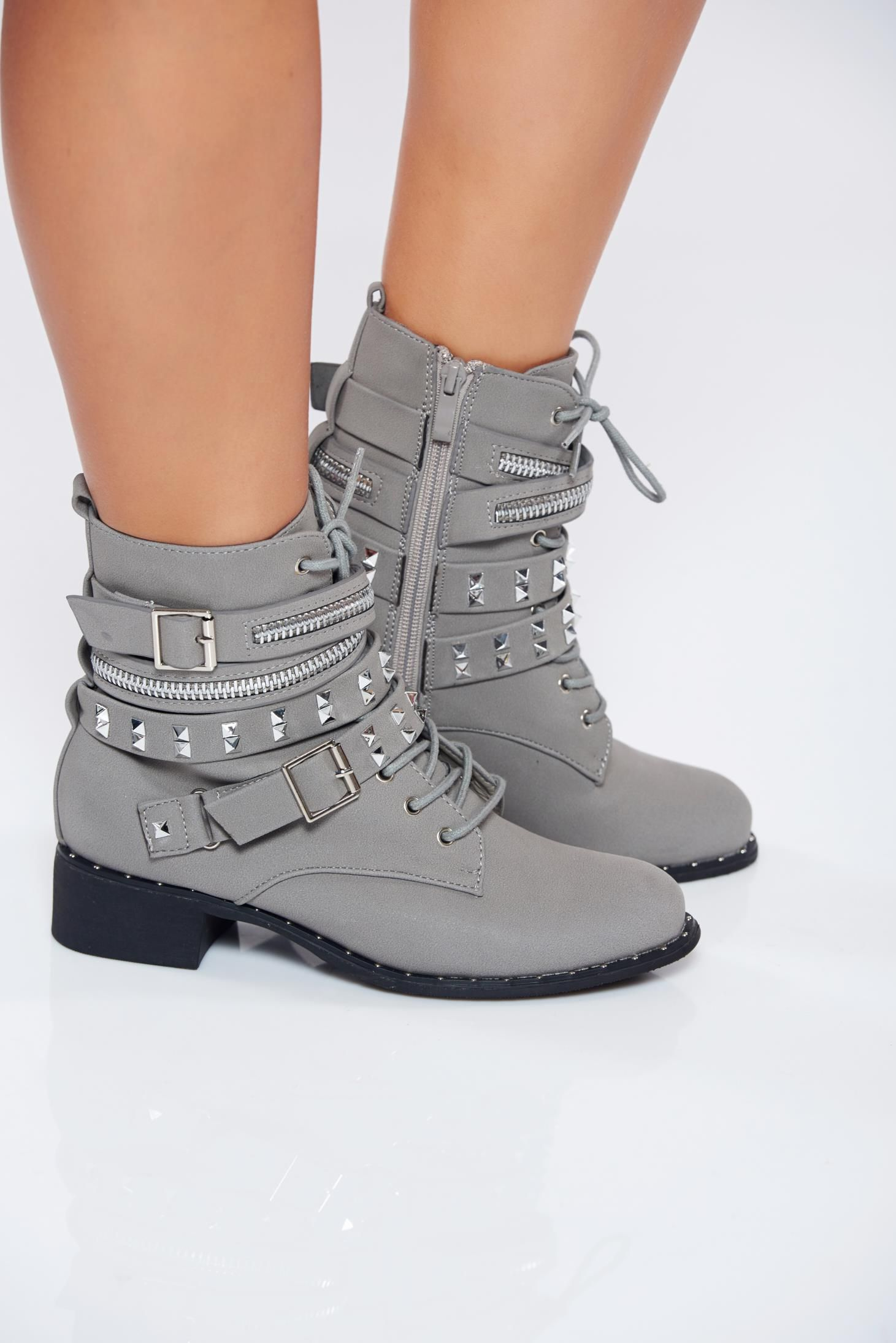 e01149bdcba Grey casual ecological leather tramper with metallic spikes, with lace,  metallic spikes, buckles accessories, side zip fastening, low heel,  slightly round ...