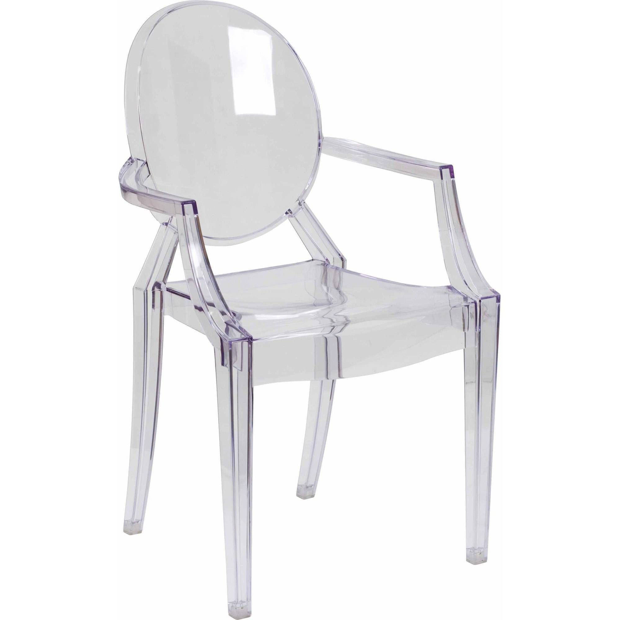 Flash Furniture Ghost Chair With Arms, Transparent Crystal   Walmart.com