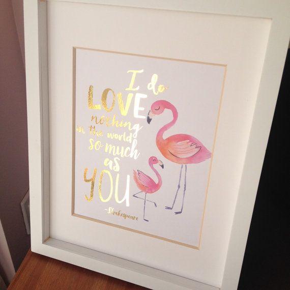 Flamingo print with pink metallic foil