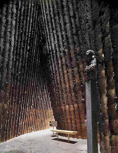 2007: Brother Klaus Field Chapel in Wachendorf, Eifel, Germany (Interior)  http://architecture.about.com/od/greatbuildings/ig/Peter-Zumthor-/Brother-Klaus-Chapel-Interior.htm#  Peter Zumthor, Architect