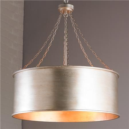 Luxe Patina Metal Drum Shade Pendant Large Metal Drum Shade
