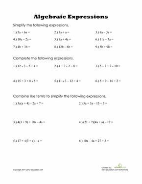 Algebraic expressions math pinterest maths algebra and worksheets algebraic expressions add like terms order of operations distributive prop ibookread Download