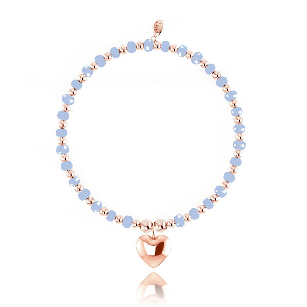 Joma Jewellery Zara bracelet blue with rose gold colour heart in