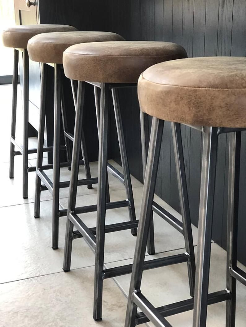 National Industrial Leather Adjustable Height Stool In 2021 Copper Bar Stools Rustic Bar Stools Bar Stools