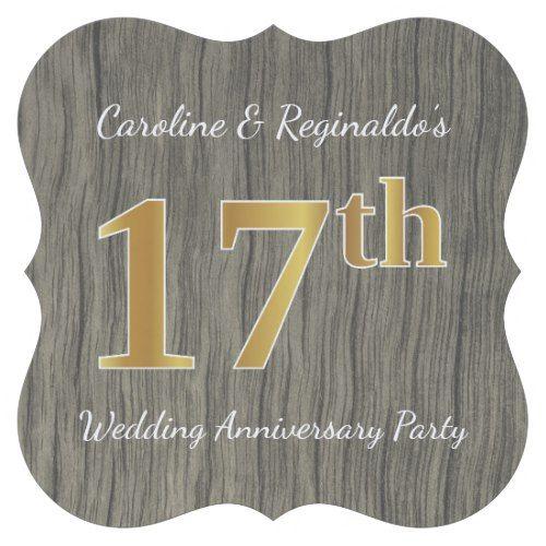 17th Wedding Anniversary Gift Ideas: Rustic, Faux Gold 17th Wedding Anniversary Party Paper