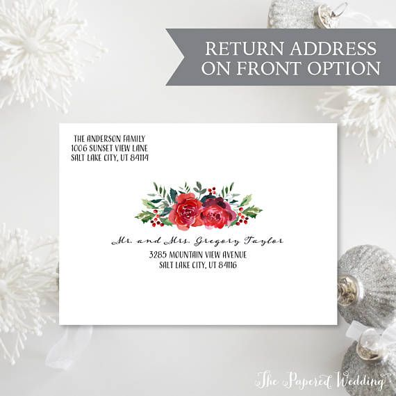 Christmas Envelope Printing Add On Red Floral Christmas Envelopes