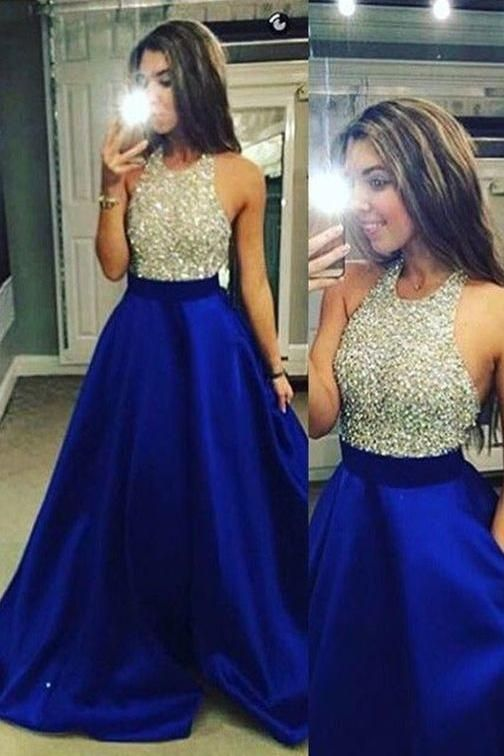 Royal Blue Halter Sleeveless Sparkly Long Prom Dresses with Beading ...