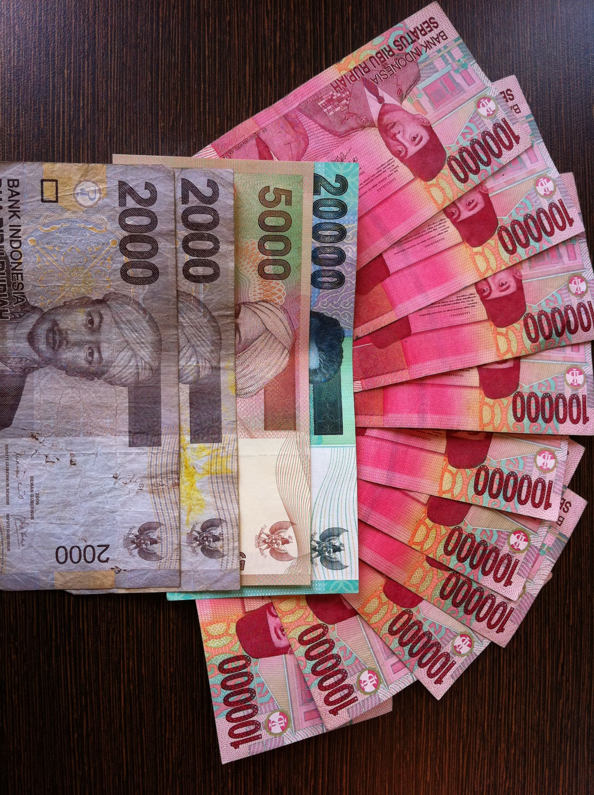 Indonesian Rupiah Not Pictured Is The 10 000 Note Which Is A Similar Colour To The 100 000 Note Bali Gambar Lucu Bali Indonesia