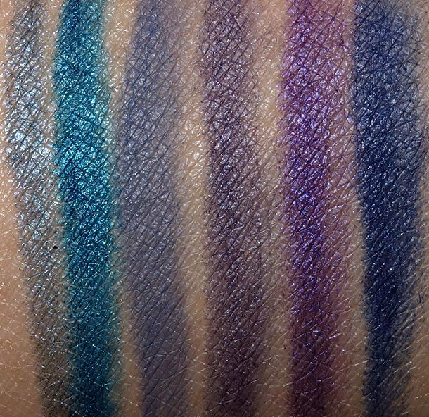 MAC Technakohl Liner swatches from the left: Whirlpool, take the Plunge, Cast Iron, Bishop Blue, Image Conscious and Cool Jazz