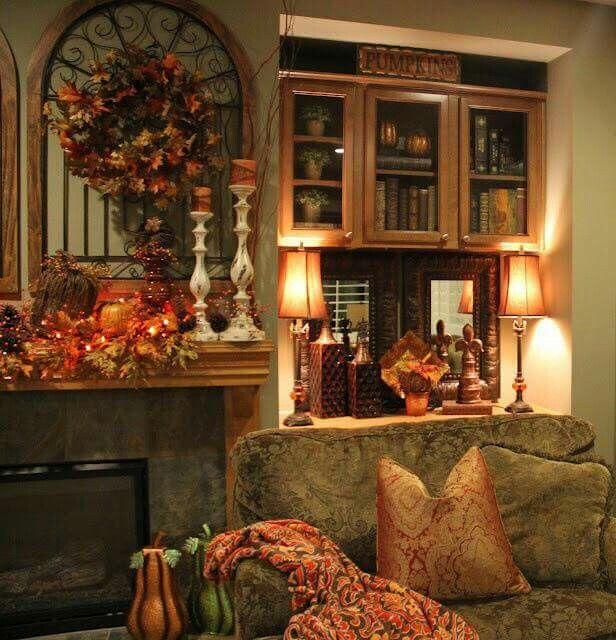 Living Room Decorating Ideas For Fall: Fall Mantel Decorations, Autumn