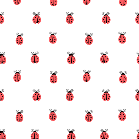 ladybug    red on white fabric by littlearrowdesign on Spoonflower - custom fabric