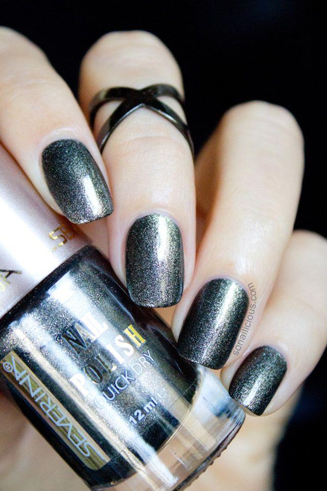 1 Polish 2 Ways Severina Gunmetal Black Matte Nail