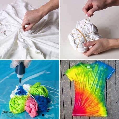 88de332a5eb5e Como hacer una camiseta hippie de colores - Javies.com