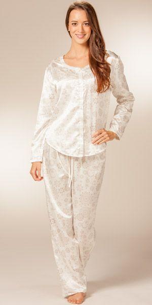 Womens Pajamas by KayAnna Brushed Back Satin PJs in Ivory Polaris