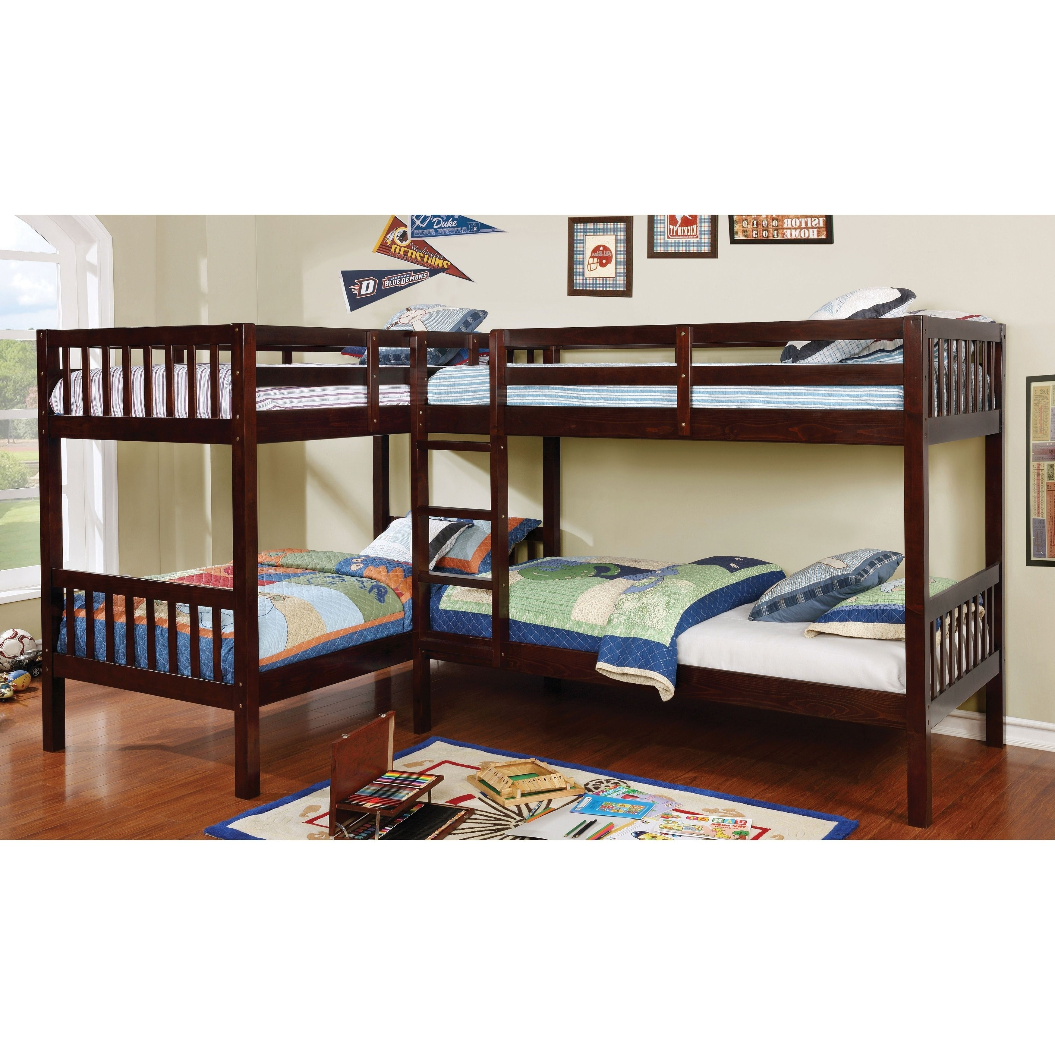 Furniture of America Jis Modern Twin Solid Wood Lshaped