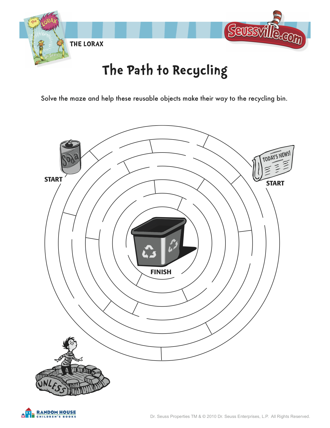 The Lorax Recycling Maze From Seussville