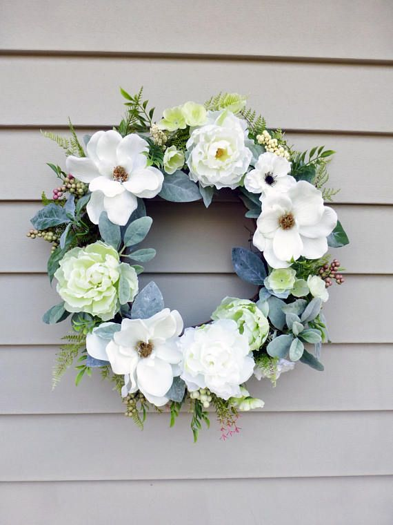 Magnolia Wreath Spring Wreaths For Front Door Wreahs Hostess
