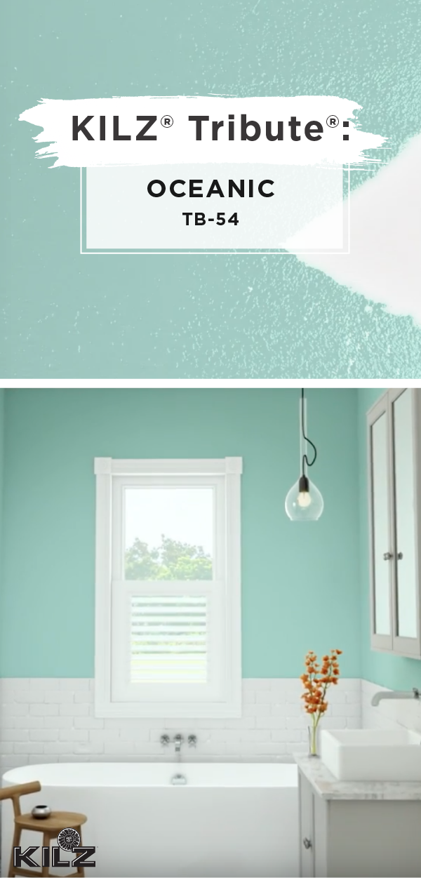 We're loving the aqua blue hue of Oceanic by KILZ Tribute. If you're looking for inspiration on how to use this modern paint hue, look no further than this colorful bathroom. White accent colors help to create a nautical design theme that's sure to please. Watch this video to learn more about how you can recreate this look in your own home. #whitebathroompaint