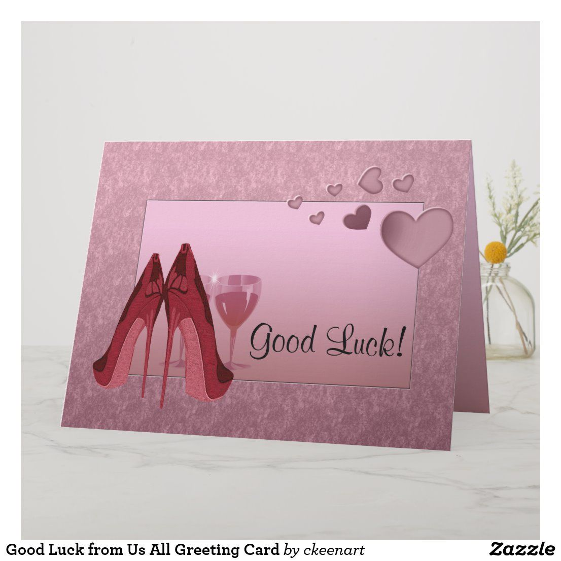 Good Luck from Us All Greeting Card Zazzle.co.uk in 2020