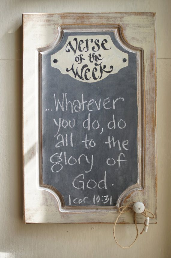 Shabby Chic Verse of the Week Chalkboard - Scripture Memory - Bible Verse