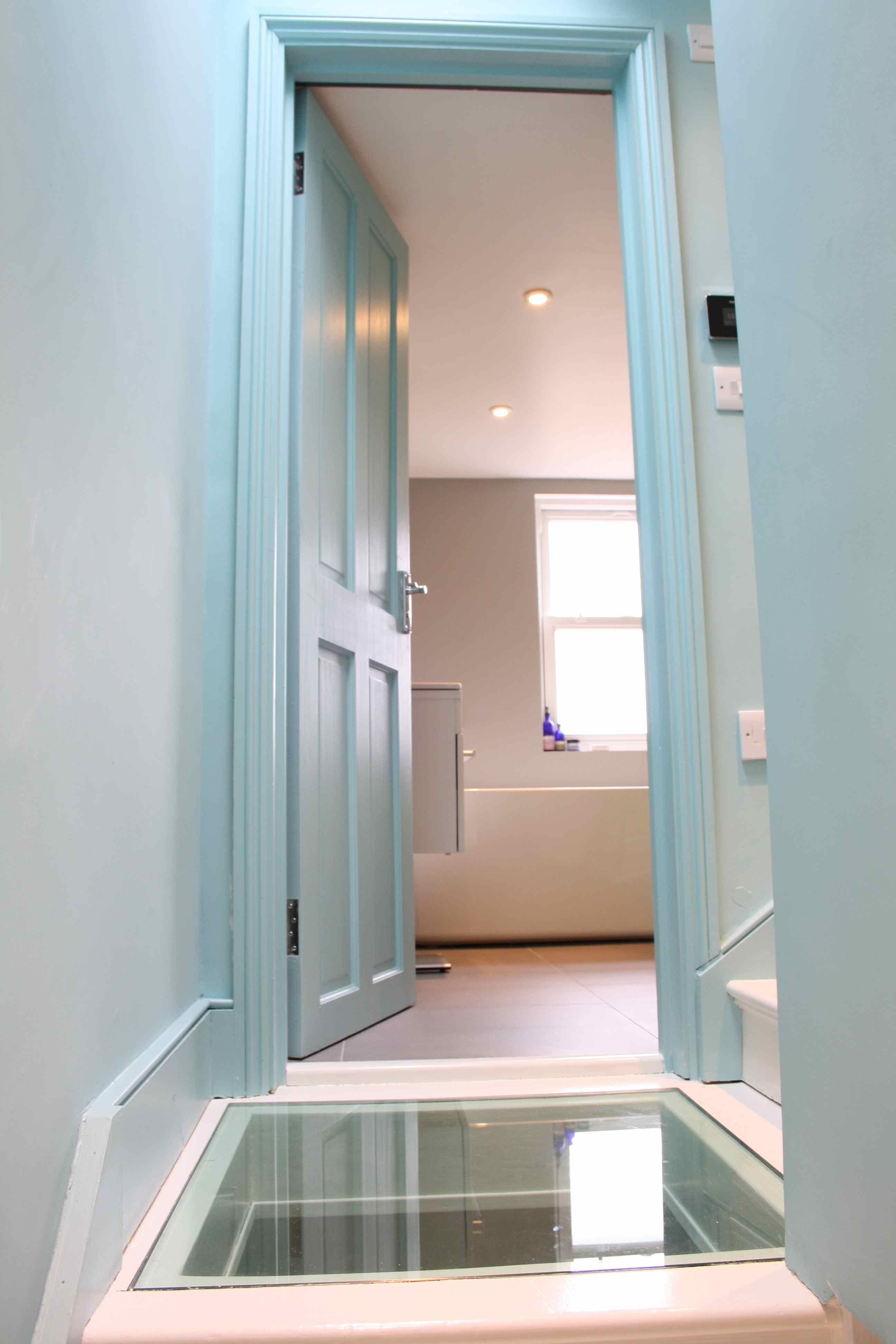 walk on glass floor to loft conversion stairs attic room. Black Bedroom Furniture Sets. Home Design Ideas
