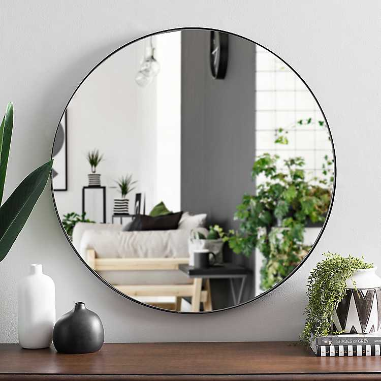 Round Black Metal Mirror 30 In From Kirkland S Living Room Mirrors Mirror Inspiration Black Living Room
