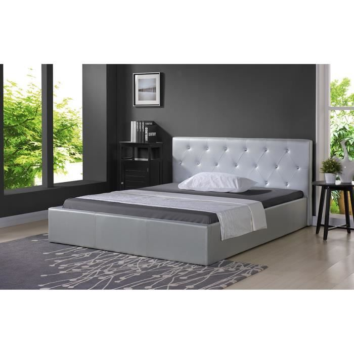 Bahia lit coffre strass sommier 160x200cm argent achat for Achat sommier