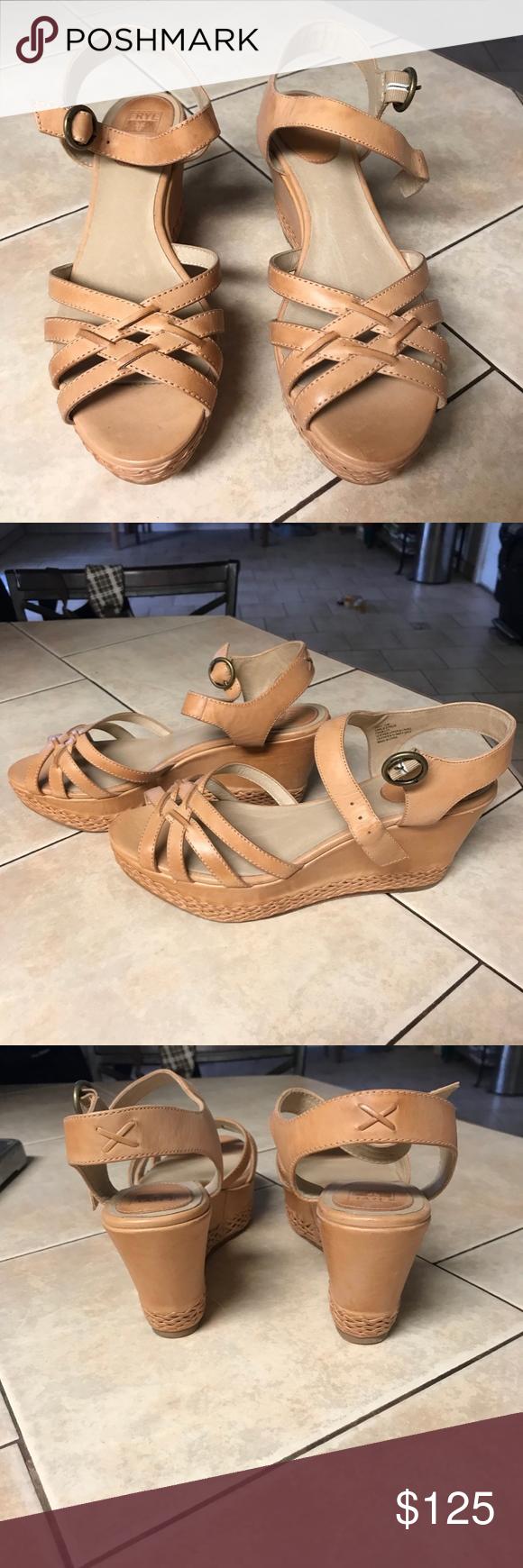 66fc9897b28 FRYE WOMEN S CARLIE WEDGE SANDAL LEATHER Frye  Carlie 2 Piece  Woven Leather  Wedge Sandal